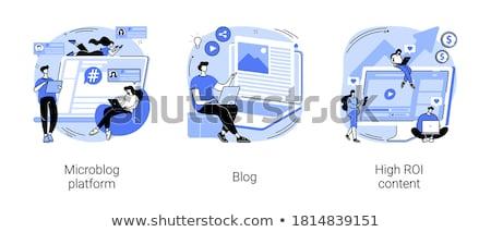Alto roi contenido medios de comunicación social red comercialización Foto stock © RAStudio