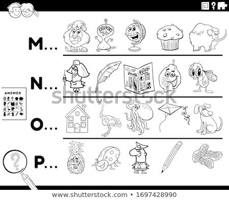 Eerste brief woord activiteit kinderen kleurboek Stockfoto © izakowski