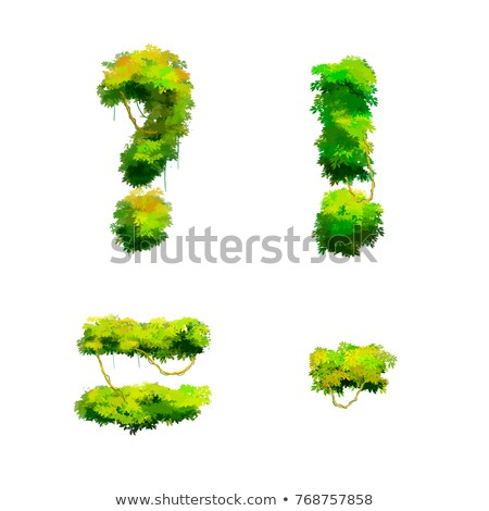 Cartoon tropical vines and bushes font isolated on white, punctuation glyphs Stock photo © evgeny89