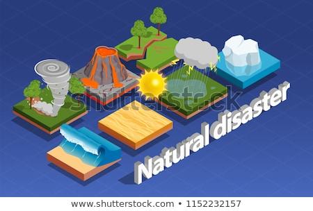 Tornádó hurrikán izometrikus ikon szett vektor fúj Stock fotó © pikepicture