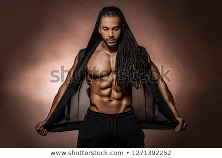 Belle torse nu musculaire blanc noir Photo stock © curaphotography