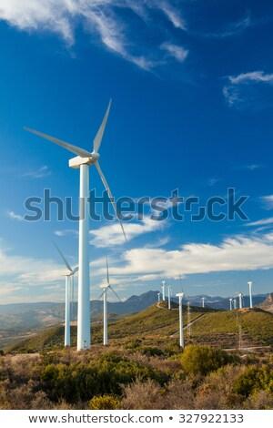 Szélturbina tornyok domboldal szélturbinák felső hegy Stock fotó © swatchandsoda