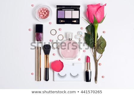 cosmetics rouge, brush and red rose on the white background Stock photo © tetkoren
