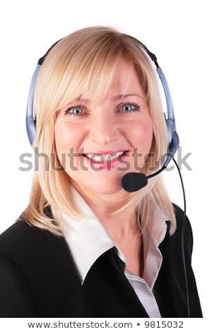 középkorú · nő · headset · üzlet · mosoly · boldog - stock fotó © Paha_L