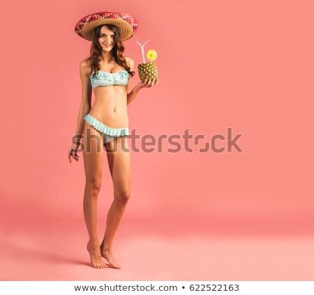 Plaj bikini kadın yalıtılmış yaz stüdyo Stok fotoğraf © Maridav