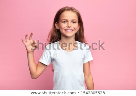 positief · handteken · blond · schoolmeisje · twee - stockfoto © darrinhenry