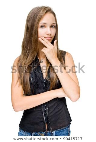 Halve lengte portret slank brunette vrouw mooie Stockfoto © lithian