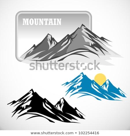 Foto stock: Grunge · inverno · montanhas · paisagem · alto · neve