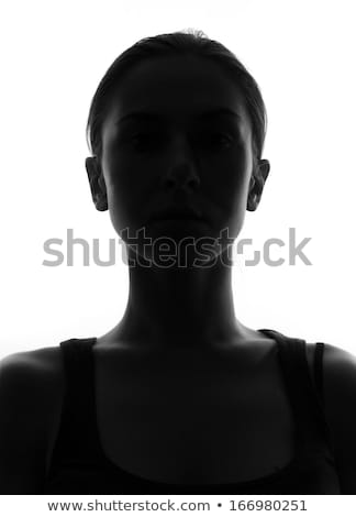 Silhouette of woman with photo camera Stock photo © pekour