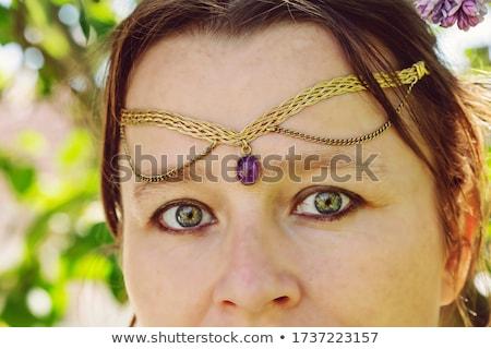 肖像 · 美しい · 若い女性 · ジュエリー · 額 - ストックフォト © HASLOO
