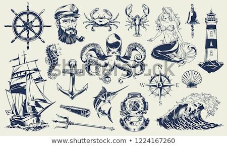 Klasszikus tengerészeti illusztráció stílus koponya szöveg Stock fotó © mikemcd