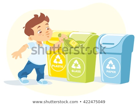 little boy throwing a glass bottle in a container stock photo © photography33