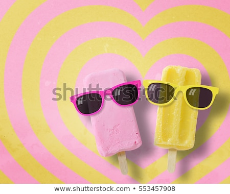 Stock photo: Heart shaped pink ice cream stick