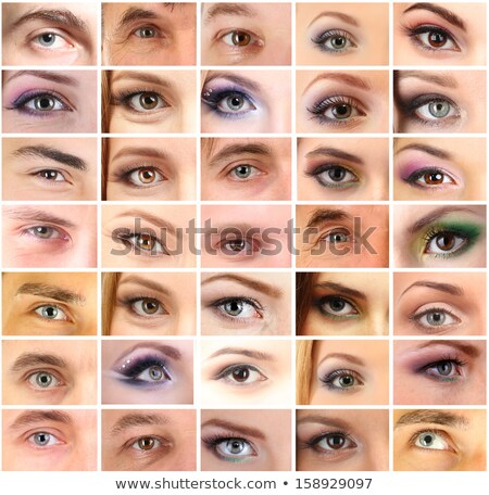 Montage jonge vrouwelijke ogen glimlach gezicht Stockfoto © photography33