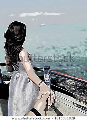 Woman sitting on dock with luggage Stock photo © photography33