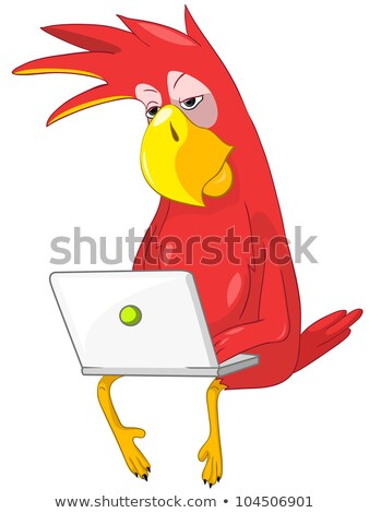 Komik papağan yalıtılmış beyaz vektör Stok fotoğraf © RAStudio