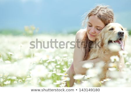 Girl with her dog on flower field stock photo © pkirillov