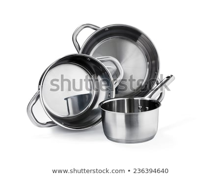 A set of stainless steel pots and pans Stock photo © ozaiachin