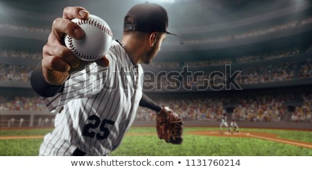 leder · handschoen · honkbalknuppel · groene · toonhoogte · gras - stockfoto © cboswell