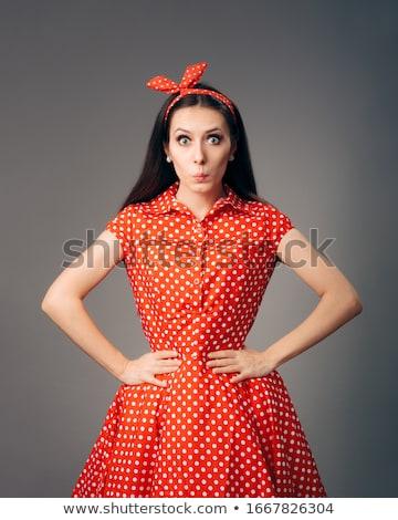 Retro divat modell piros pöttyös pompás Stock fotó © stryjek