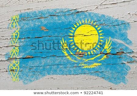 Flag Of Khazakstan On Grunge Wooden Texture Painted With Chalk Foto stock © vepar5