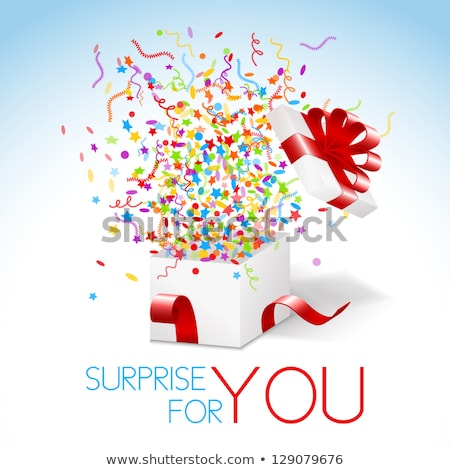 White box with red ribbon and colorful confetti and swirls. Surprise for you title. Stock photo © liliwhite