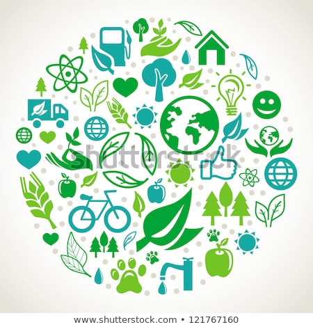 Groene eco illustratie ecologie iconen poster Stockfoto © krabata