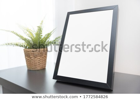 White Abstract Rectangle Frames Standing in the Gray Room Stock photo © maxpro
