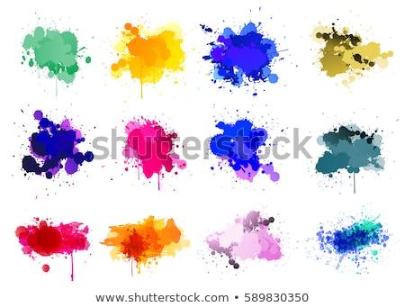 Stock fotó: Kék · festék · folt · fehér · grunge · textúra