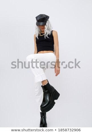 詳細 ファッショナブル プラットフォーム 黒 ブーツ ストックフォト © phbcz