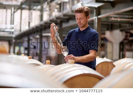вино заполнение процесс испанский погреб черно белые Сток-фото © ABBPhoto