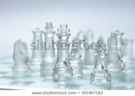 Vidro xadrez tabuleiro de xadrez negócio azul Foto stock © posterize