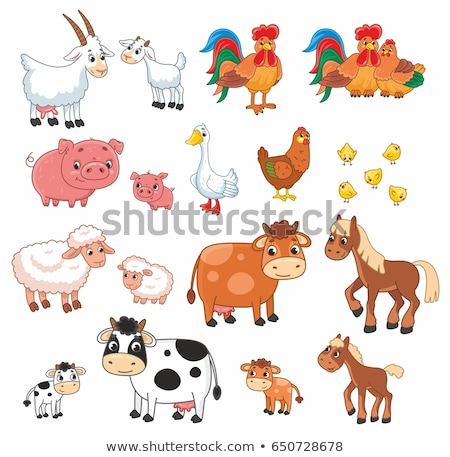 Photo stock: Drôle · cartoon · animaux · de · la · ferme · ensemble · amour · vache