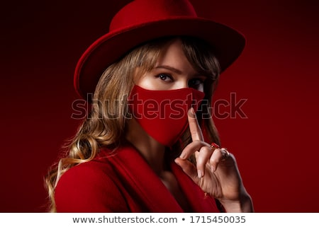 Beauty woman gesturing silence Stock photo © stockyimages