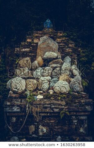 Budista oração palavras parede dourado tibete Foto stock © bbbar