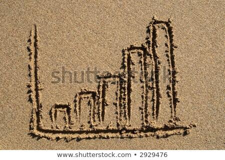 nyereség · diagram · rajzolt · homok · üzlet · tengerpart - stock fotó © latent