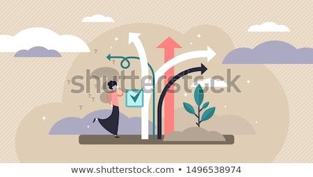 útkereszteződés nyíl útjelző tábla vektor felirat jövő Stock fotó © burakowski
