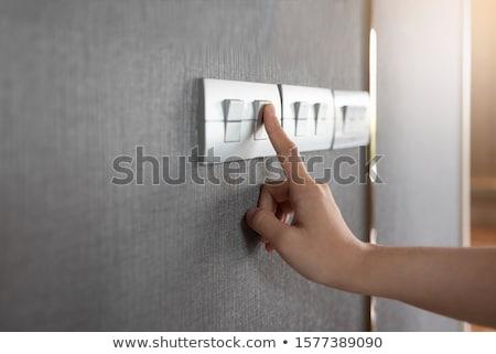 Interrupteur de lumière blanche mur maison fond lampe Photo stock © Kurhan