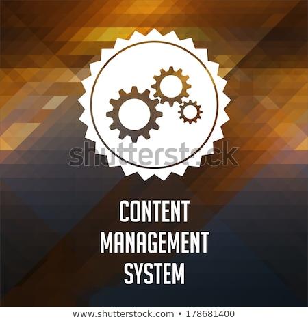 Stock fotó: Tartalom · vezetőség · háromszög · retro · címke · terv