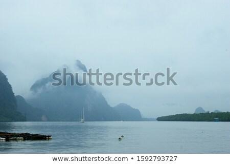 Сток-фото: Mystical Landscape The Boat Harbor At Dawn