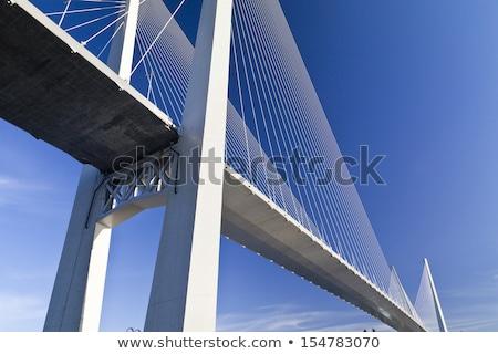 Cable puente colgante edad sol detrás puente Foto stock © rghenry