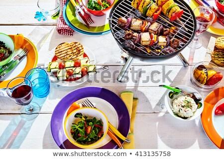 Picknicktafel Geel tabel doek kleurrijk geïsoleerd Stockfoto © ivonnewierink