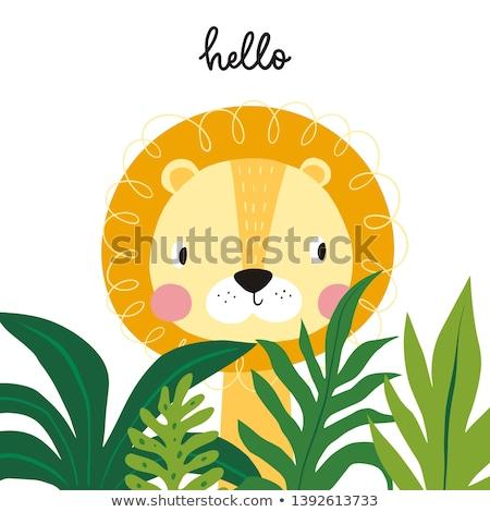 ライオン · 漫画 · 実例 · 森林 · 日没 · 自然 - ストックフォト © kiddaikiddee
