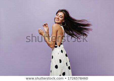 Moda mulher jogar brinco sessão banquinho Foto stock © feedough
