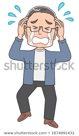 cartoon sad old man pointing stock photo © lineartestpilot