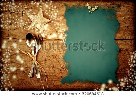 escrito · Navidad · menú · pergamino · edad · mesa · de · madera - foto stock © marimorena