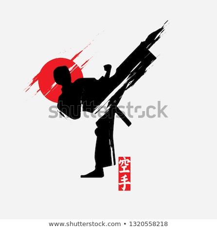 Karatê homem em pé lado chutá posição Foto stock © rudall30