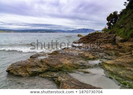 hullámok · tenger · gyönyörű · égbolt · tengeri · kilátás · tengerpart - stock fotó © stryjek