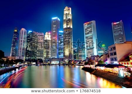 Csónak rakpart Szingapúr magas felhőkarcolók központi Stock fotó © joyr
