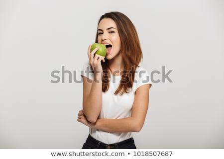yeşil · elma · beyaz · diş · genç · kadın - stok fotoğraf © hasloo